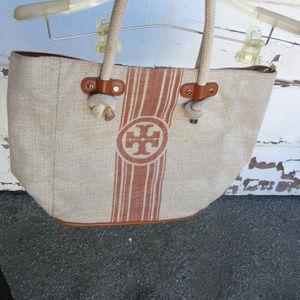 👙 Tory Burch beach tote purse bag logo
